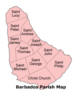 Barbados parish map