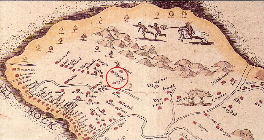 "Section of Ligon's map published in 1657 showing that ""Foster"" owned 100 acres or more in St. Peters, close to All Saints Church."