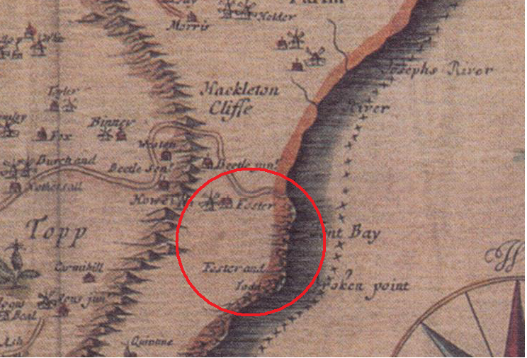 "Section of Richard Ford's map of 1674 showing ""Foster"" owning land in St. Joseph and St. John"