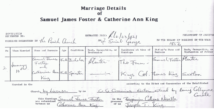 Marriage Certificate Samuel James Foster and Catherine Ann King on January 10, 1856